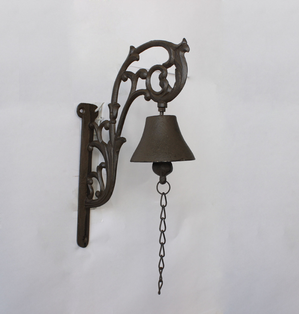European Flower Shaped Cast Iron Hanging Door Bell For Garden Decoration