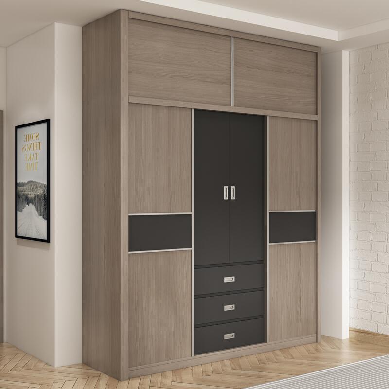 E1 Particle Board เลื่อนประตูห้องนอนเฟอร์นิเจอร์ตู้เสื้อผ้าตู้เสื้อผ้าไม้ตู้ Armoire