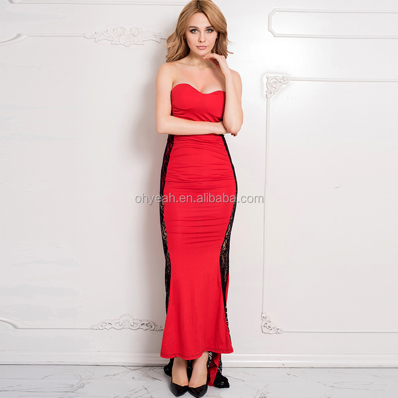 Red And Black Criss Party Pictures For Women Fashion Night Dress