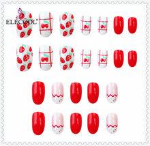 ELECOOL 24 шт. накладные ногти Красный Белый Розовый Черный матовый мраморный цветок горный хрусталь Стиль Леди НЕВЕСТА искусственные ногти для...(Китай)