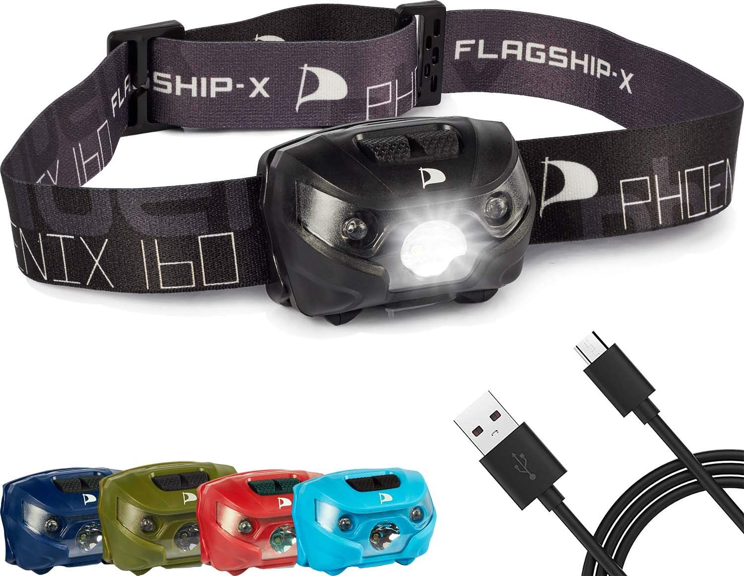 Flagship-X Phoenix USB Rechargeable Waterproof LED Camping Headlamp Flashlight For Running