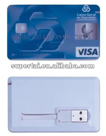 Super thin credit card with logo full color printed usb flash disk