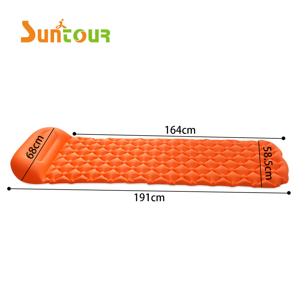 2018 Durable Lycra+TPU coating sleeping pad outdoor travelling camping hiking mattress with inflatable pillow