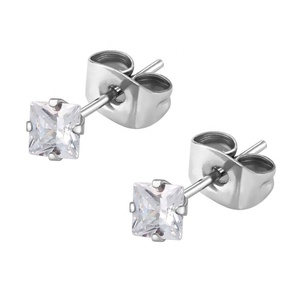 Fashion silver jewelry stainless steel earrings studs women crystal ear piercing studs wholesale