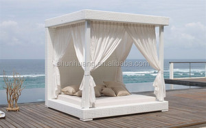 Latest design rattan furniture outdoor PE rattan sun bed lounger bed with canopy