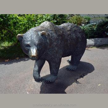 Zoo Wildlife Metal Sculpture Life Size Bronze Grizzly Bear Statue Garden  Ornament