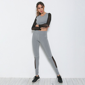 OEM Gym Wear Top And Legging Women Yoga Mesh Tracksuit