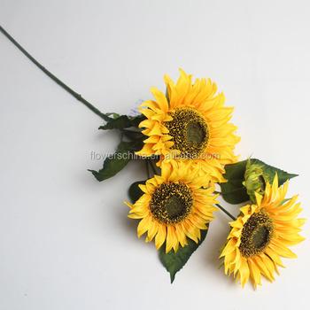Haute Imitation Decorative Grosse Tete Fleurs Jaune Longue Tige