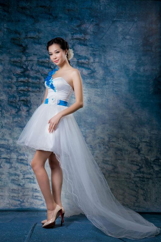 One-shoulder Sleeve Front Short And Long Back Wedding Dress - Buy ...