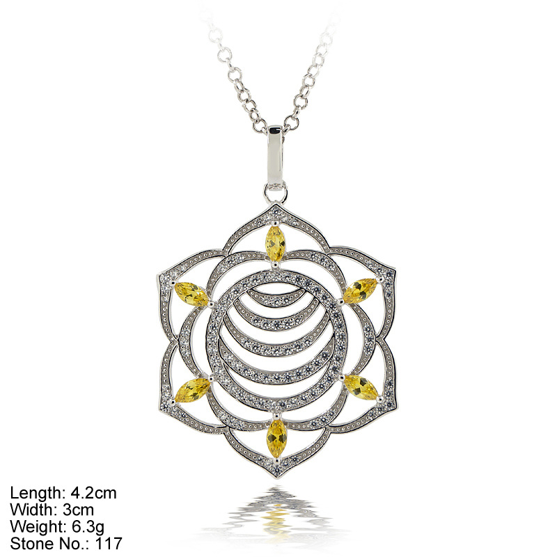 PZA-CKR2b-B Yoga Symbols Pendant Design 925 Sterling Silver with Yellow CZ Fine Jewelry Design