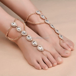 High Quality Handmade Gypsy Gold Chain Antique Barefoot Slave Toe Ring Statement Anklet