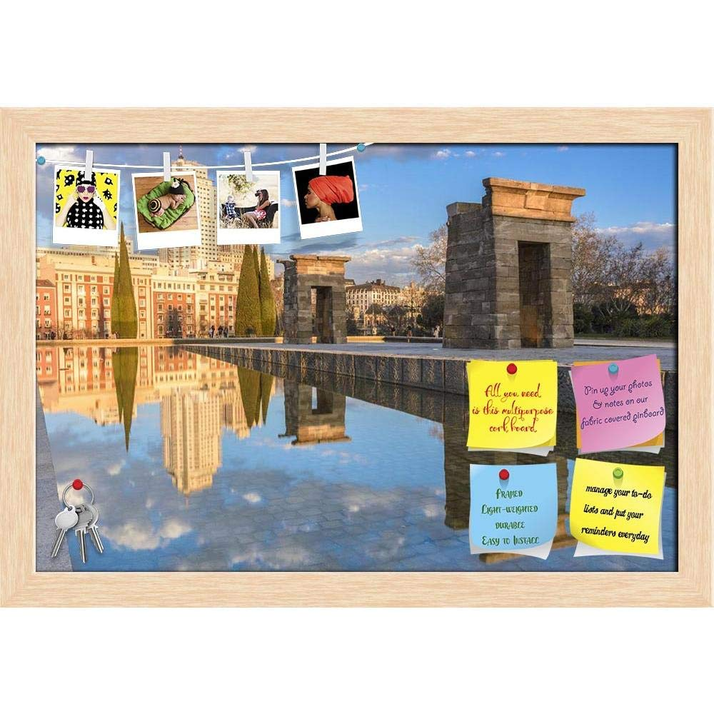 ArtzFolio Temple of Debod, Madrid, Spain Printed Bulletin Board Notice Pin Board Cum Natural Brown Framed Painting 17.5 x 12inch