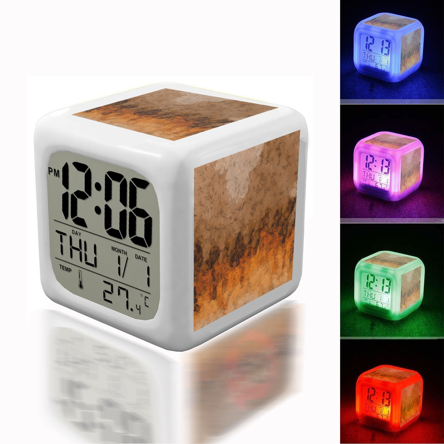 Alarm Clock 7 LED Color Changing Wake Up Bedroom with Data and Temperature Display (Changable Color) Customize the pattern-331.Brown Background Waves Abstract Background Pattern Abstract