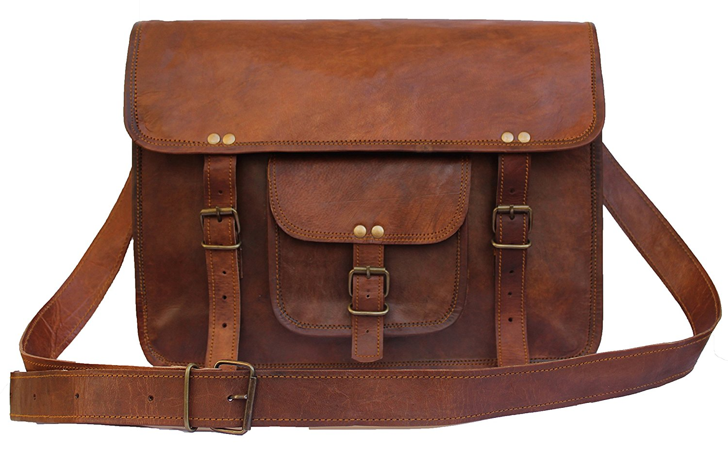 United Leather Bags 15'' Inches Classic Adult Unisex Cross Shoulder Genuine Leather Messenger Laptop Briefcase Bag Satchel Brown