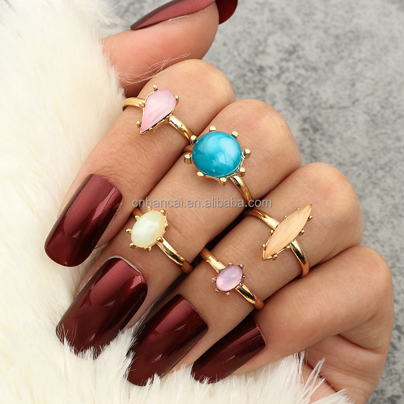 Flower Adjustable Crystal Midi Ring Sets for Women 5pcs/Set Boho Beach Vintage Turkish Punk Elephant Knuckle Ring