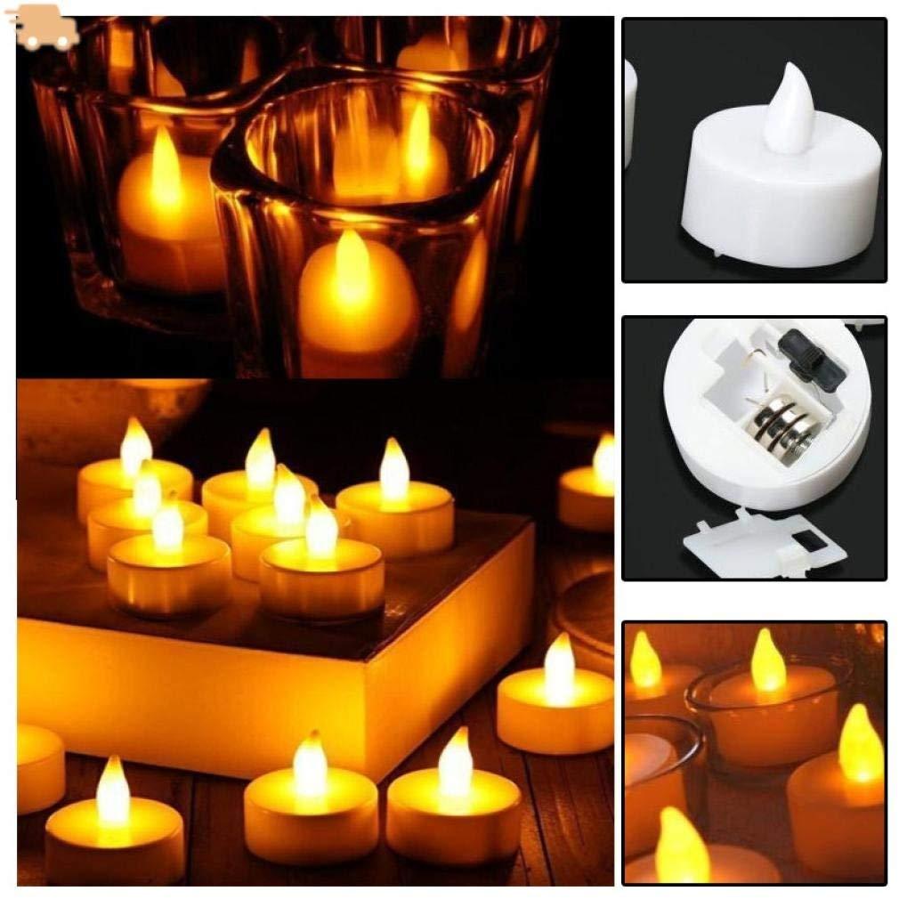 Rumas 12Pcs 2'' x 2'' LED Candle Flameless Tea Light - Battery Operated Night Light - Romantic DIY Decor for Wedding Anniversery Birthday Party Seasonal & Festival Celeration Bedroom (Yellow)