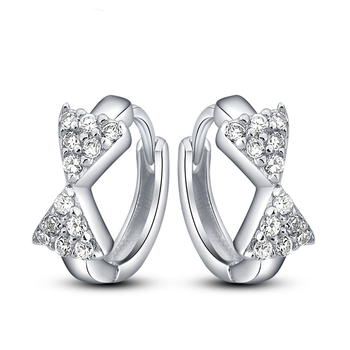 Whole Fashiofactory Price Silver Huggies Earring Hoop Earrings With Clear Cz In Stock