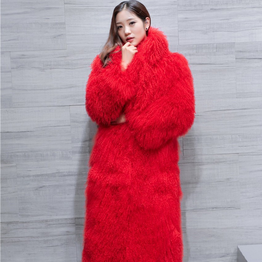 0af25f4af6185 Genuine Curly real lamb fur long size coat