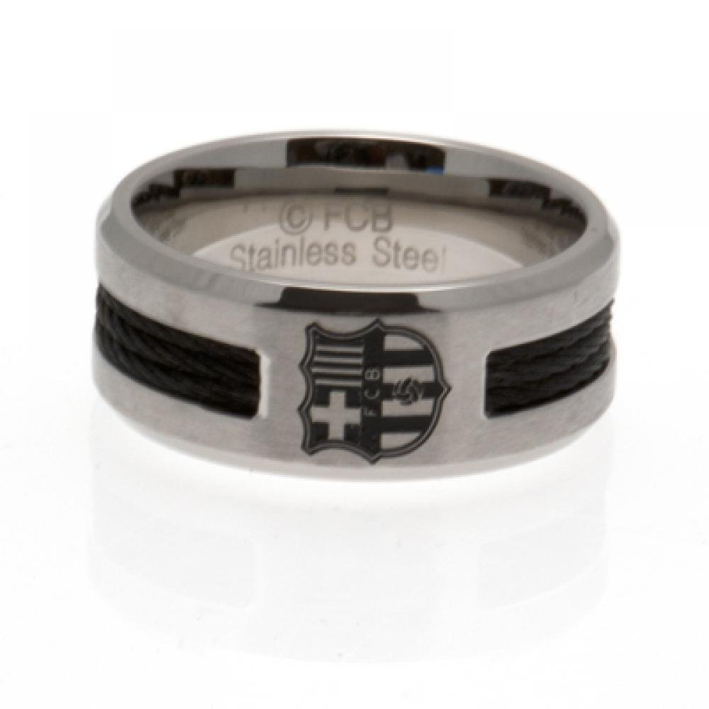7bb318487e5 Get Quotations · Football Gifts - Fc Barcelona Gift Ideas - Official Fc  Barcelona Stainless Steel Black Inlay Ring