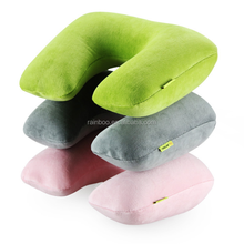 Hot sale custom U shape neckrest cotton inflatable neck pillow for airplane train car