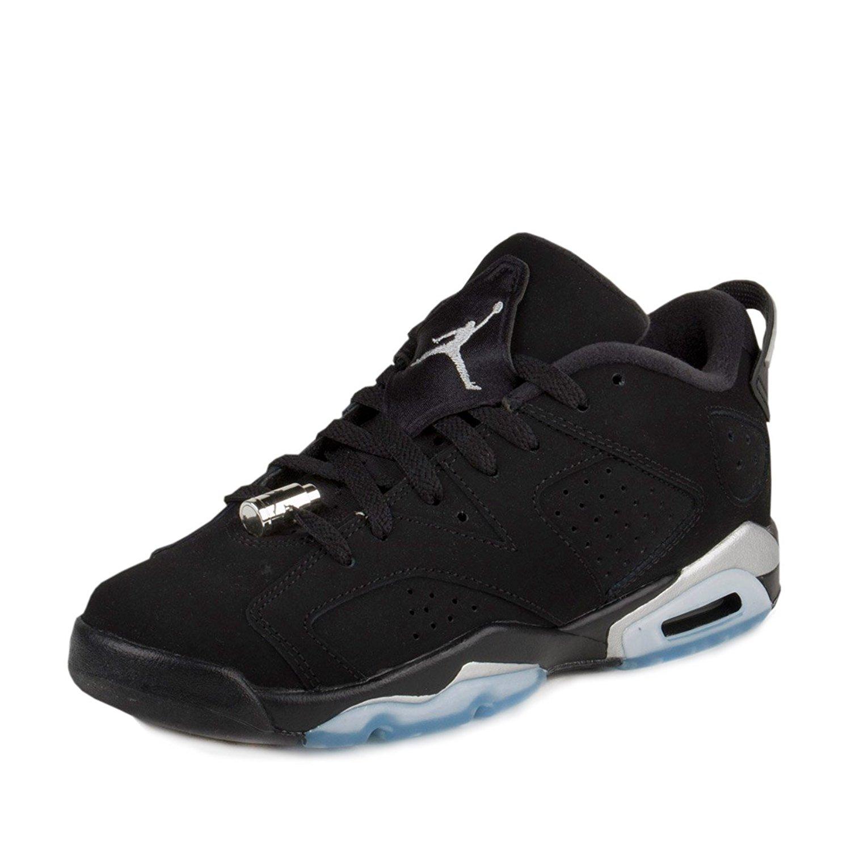 """Nike Boys Air Jordan 6 Retro Low BG """"Chrome"""" Black/Metallic Silver-White Leather"""
