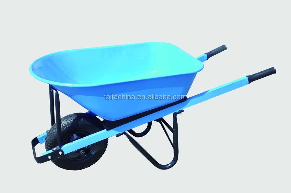 Heavy-duty load steel wrinkled powder coated tray and square tubes steel handles,wheel barrow