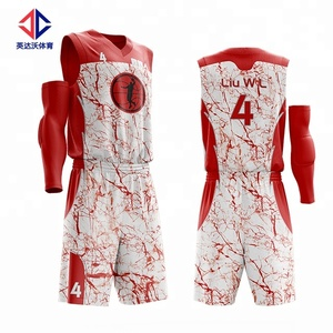 Color never lose with sublimation tech for red basketball jersey