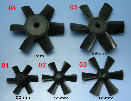 RC Model Accessories 6 Blade Ducted Fan Propeller 50mm/55mm/65mm/89mm Propeller For Fixed-wing RC Aircraft