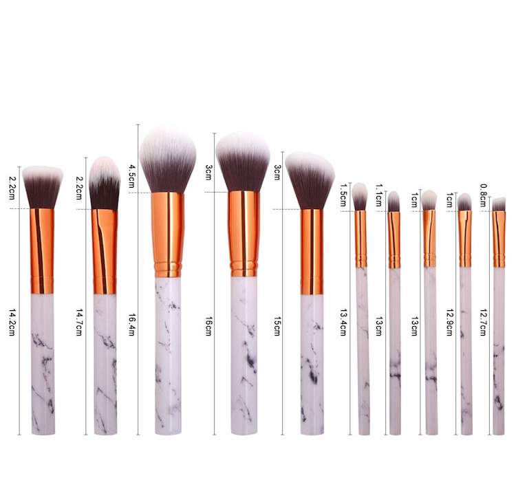 10pcs high end professional makeup brush Marbling new product samples makeup brushes plastic handle cosmetic tool