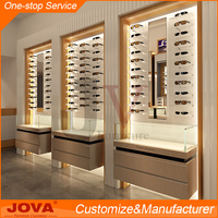 Optical shop furniture display cabinet, floor standing wooden optical frame display eyeglass kiosk design, eyewear interior