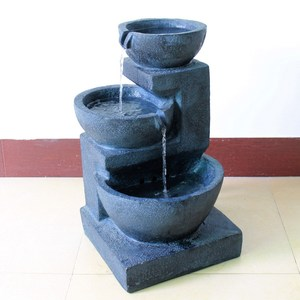 3-tier cascading bowls terracotta effect solar water feature with bright white LED lights