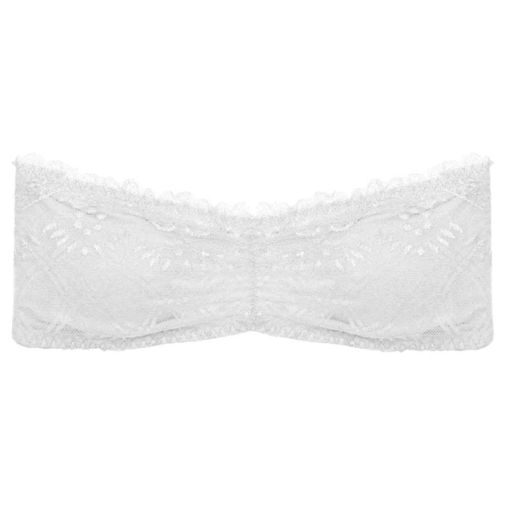 dede16b879 Get Quotations · Floral Lace Bandeau Bra Bralette Caged Back Removable Pads  Shirt Cami
