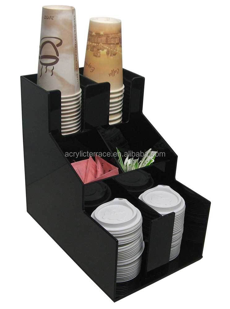Cup and Lid Dispenser Coffee Condiment Caddy Cup Rack Beverage Organizer fd140407021