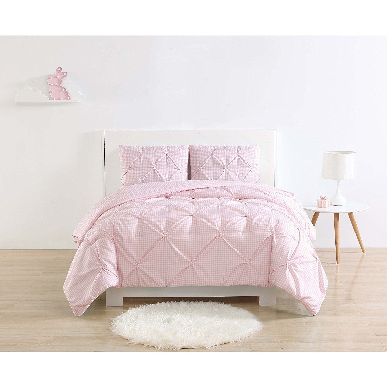 Ln 3 Piece Pink White Gingham Plaid Pattern Comforter Full Queen Set, Beautiful Classic Checkered Print Plush Bedding, Casual Style, Bright Colors, Soft & Cozy Microfiber Polyester, Unisex