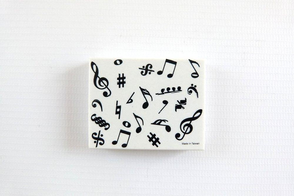 Music Themed Rectangular White Musical Design Eraser Musical Notes