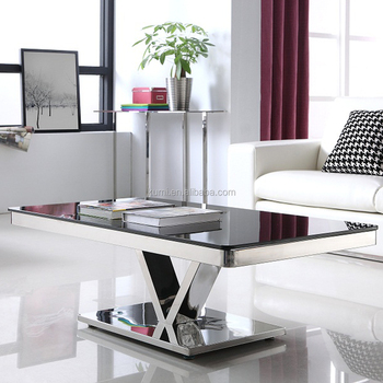 New Design Stainless Steel Glass Coffee Table