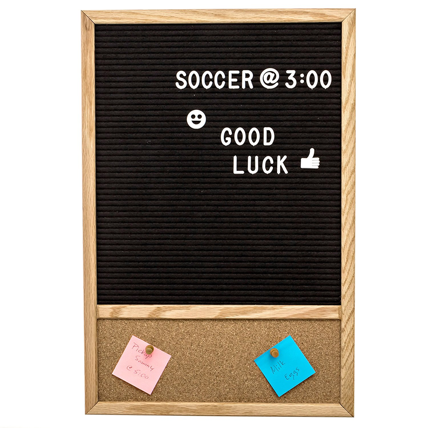 Changeable Felt Letter Board with Attached Cork Board, with 300 Plastic Letters, Numbers & Symbols, Includes Letter Bag, Felt Board 11x12 Inches, Cork Board 3.5x11 Inches