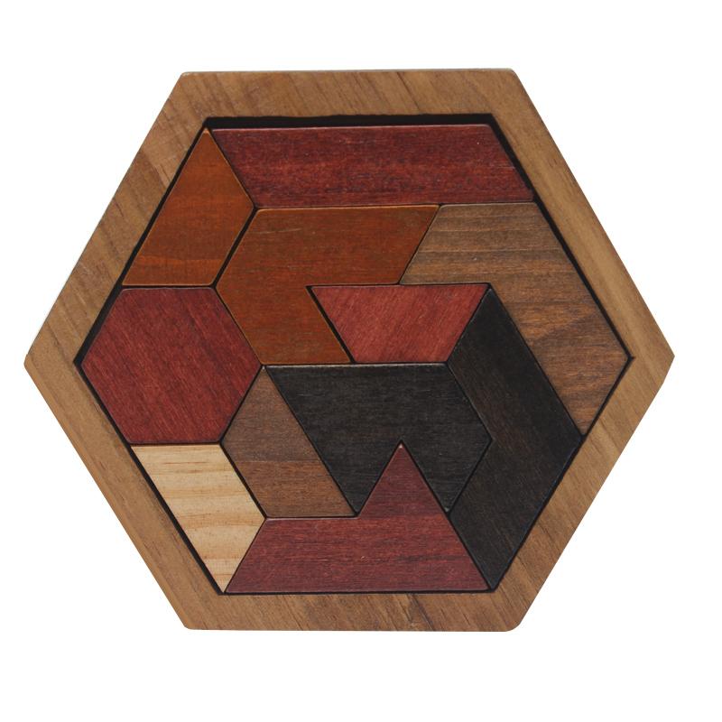 Kids Wooden Puzzle Geometric Educational Toys Children Tangram Jigsaw Board S