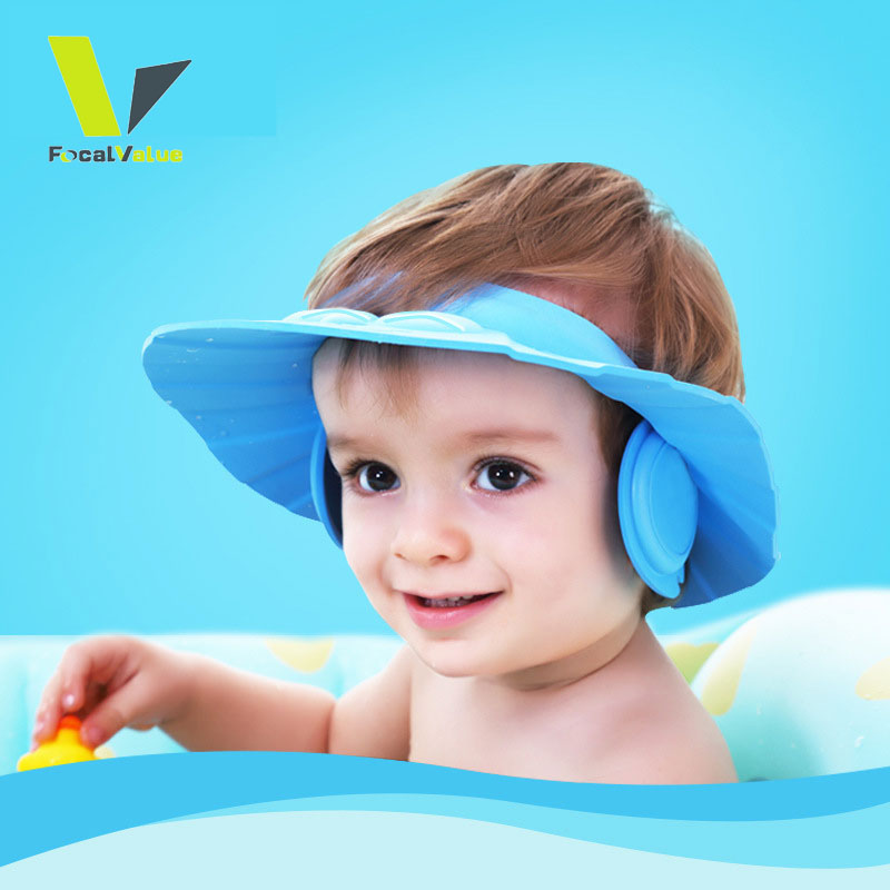 be84df7af33 Safely Silicone Adjustable Baby Shower Cap Protect Shampoo