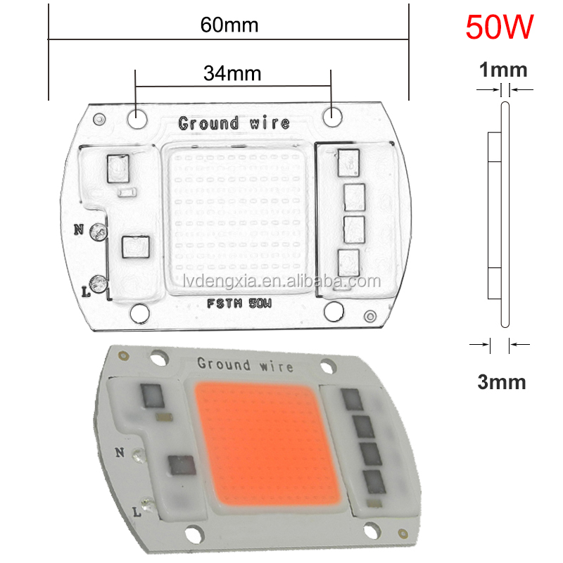 AC 110V 220V 230V 380-840nm full spectrum growing led chip 20w 30w 50w AC COB LED