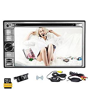 "Radio Receiver Double Din Monitor Bluetooth Headunit USB SD FM AM Car DVD Player Car Stereo Audio Video Autoradio Motorized 6.2"" iPod Wireless Camera"