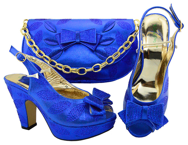 Heels Top Shoe And Wedding Bag Quality Women Color For Matching Bags M005 Matching And blue Latest Set Shoes Royal Purse African 6wAfpqAY