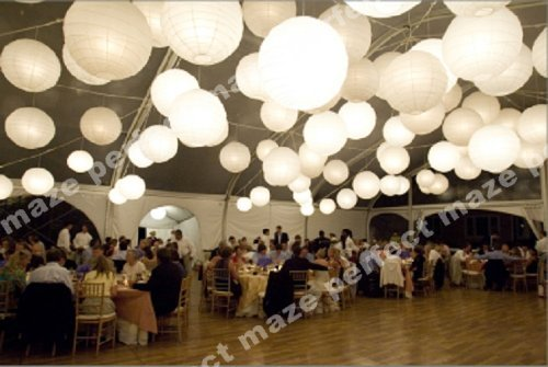 Perfectmaze 12 Piece Set 14 Inch White Round Chinese Paper Lantern With Led For Wedding Party Engagement Decoration