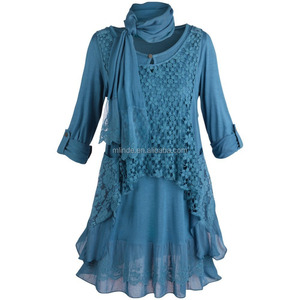 Fashion Lace 2 Piece Layer Shirt And Vest Women's Tunic Top Set With Roll-Tab Sleeve Tunic