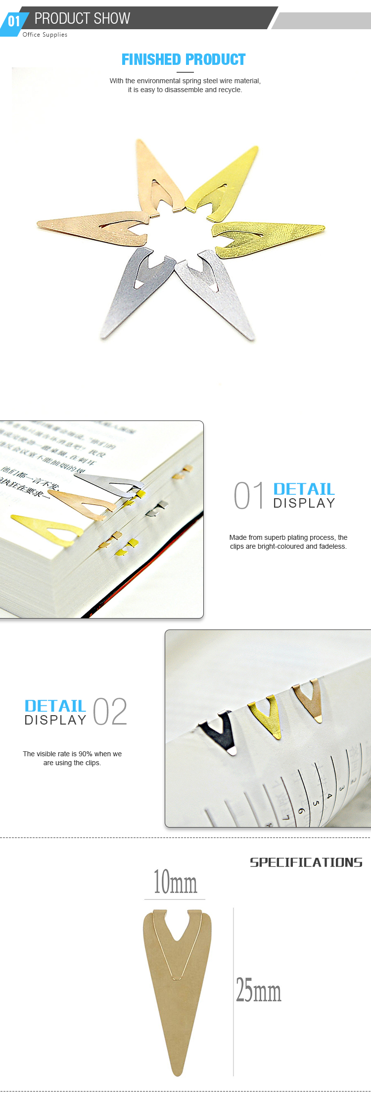 Business Gift Flat Paper Clips Triangle Shaped Paper Clips/Magnetic Bookmark