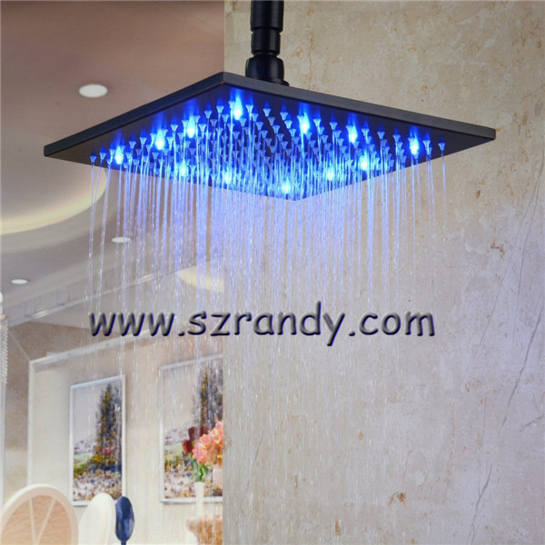 single Blue color 8 inch LED Stainless Steel LED bathroom shower without battery