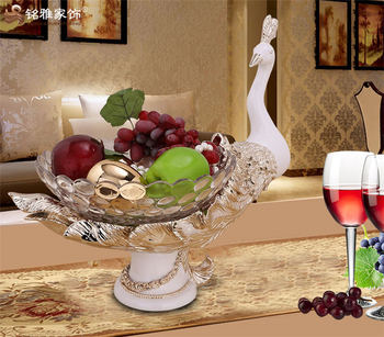 christmas home decoration pieces resin peacock plate decorative fruit bowl for living room