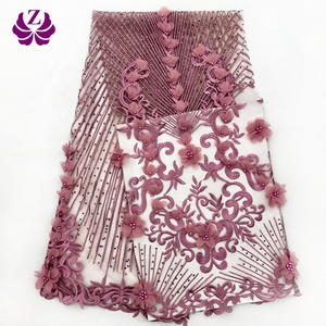 high quality wholesale cheap latest polyester 3d african lace fabrics bridal