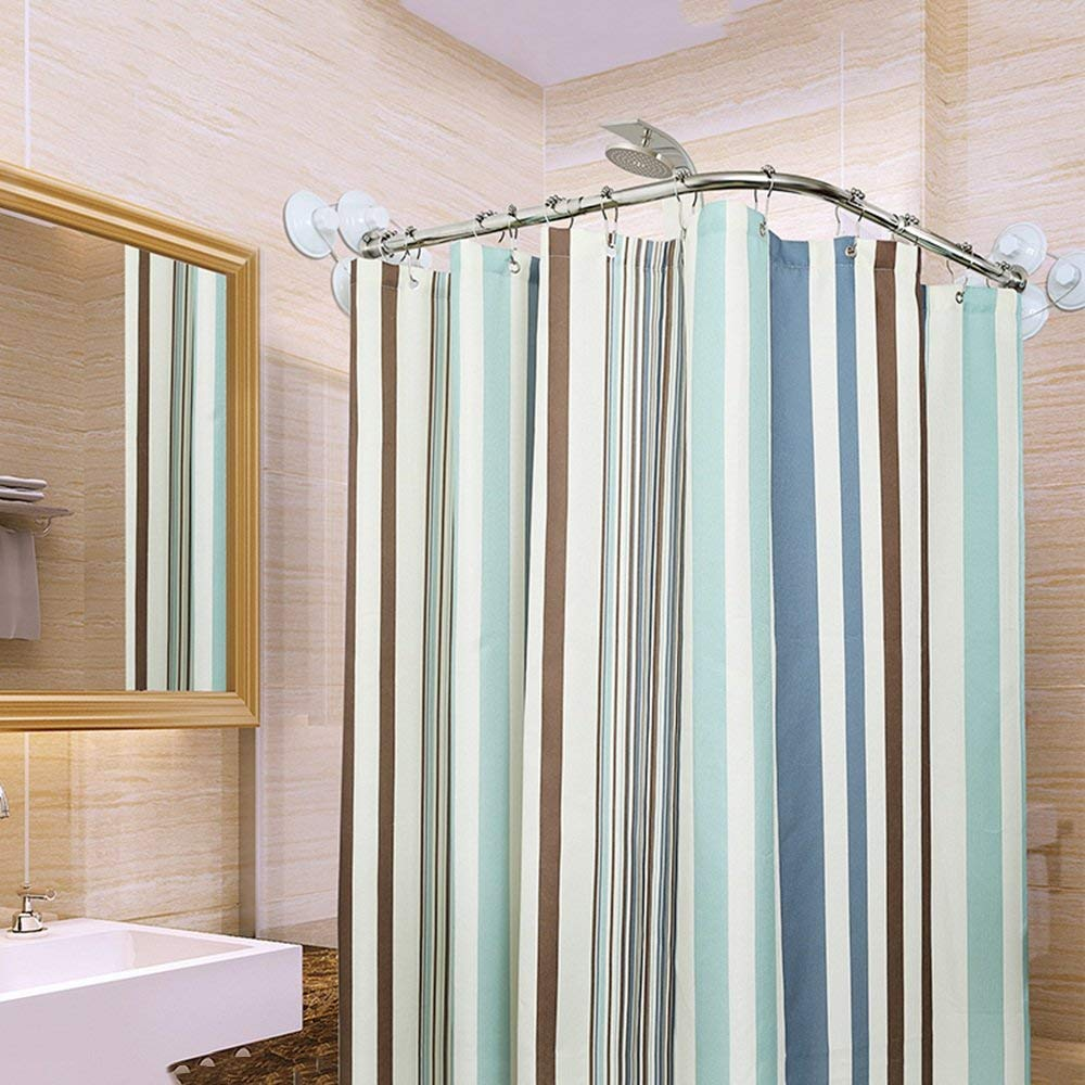 U shaped shower curtain rod built in sink soap dispenser