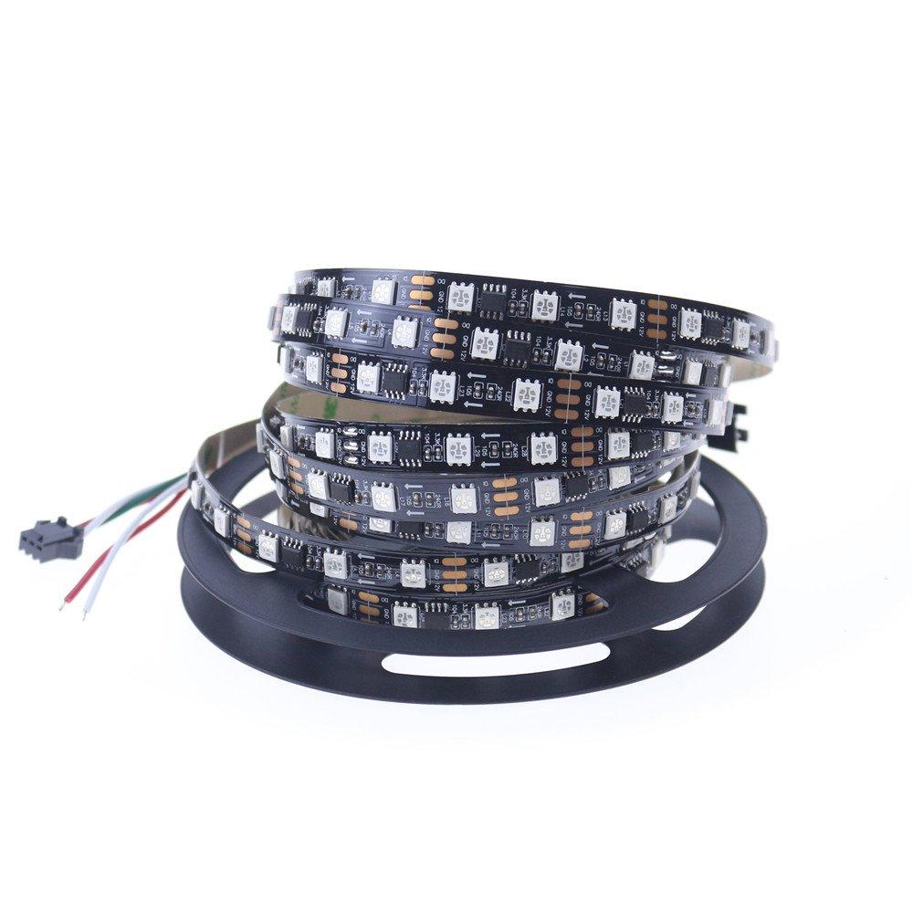12v 60leds/m 20IC rgb led strip ws2811 SM16703 UCS1903 led pixel strip programmable IP20 5m black pcb 2 year warranty
